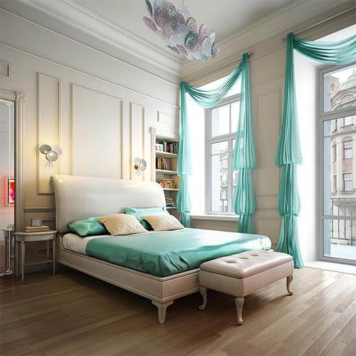 Biało-turkusowa sypialnia