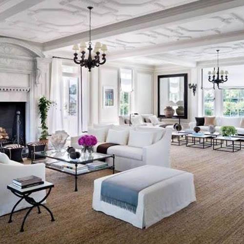 Duży salon - aranżacja w bieli