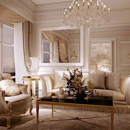 Przepiękna sztukateria w salonie glamour