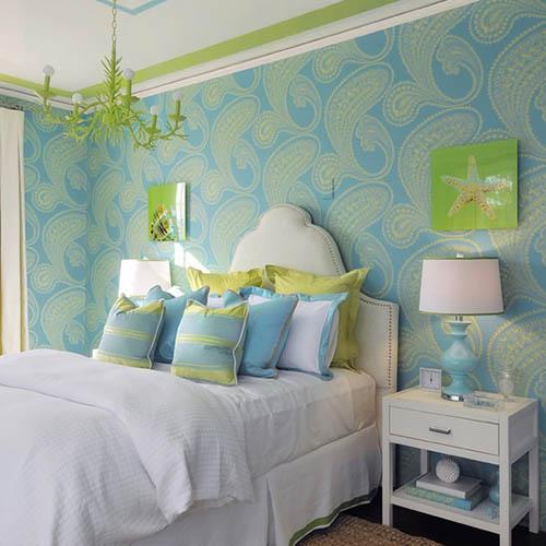 Zielono-niebieska aranżacja sypialni