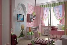 słodki pokój ze sztukaterią i rozetami dla dziewczynki