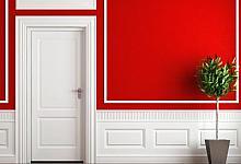 biało- czerwona aranżacja przedpokoju