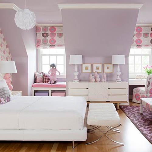 Liliowo-różowy pokój dla dziewczynki